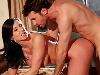 Brunette James Dean with giant knockers takes dream cumshot