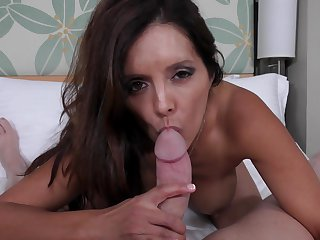 Brunette senorita Francesca Lle with juicy melons asks Mark Wood to drill her sweet mouth