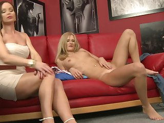 Blonde Silvia Saint has fire in her eyes as she toy fucks her slit