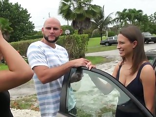 Brunette Jmac with giant jugs and smooth pussy needs nothing but a hard fuck stick in her hands to get satisfaction
