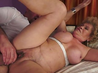 With juicy breasts gets her mouth stretched by beefy rock solid schlong of horny bang buddy