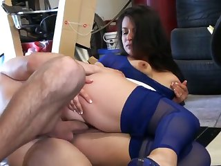 Brunette with phat butt and bald cunt does dirty things and then gets her nice face covered in sperm