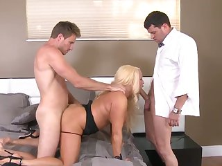 Blonde Alexis Diamonds with gigantic jugs and hairless muff finds her love box so wet after giving suck job to Levi Cash