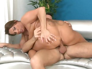 Brunette Jimmy Legend with gigantic knockers and bald beaver gets throat drilled for your viewing entertainment