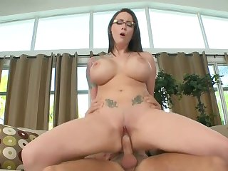Brunette with gigantic melons and shaved cunt does dirty things and then gets painted with man goo