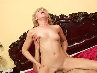 Mature gets her many times used mouth drilled again by horny man