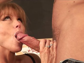 Redhead Darla Crane with giant hooters sucking like it ain't no thing in oral action with Mr Pete