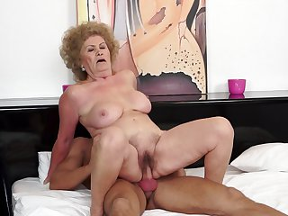 Mature Effie with big melons swallows dude's rock solid cock