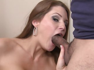 Redhead with juicy breasts loves getting her pretty face cum sprayed