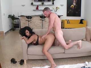 Hot ass brunette Sophia sucks and fucks