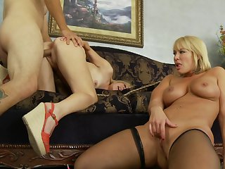 David Loso pops out his schlong to fuck nasty Mellanie Monroe's throat