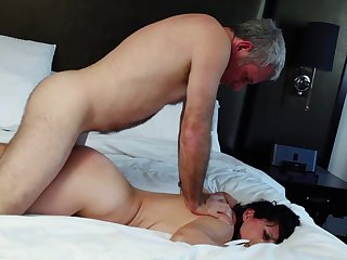 Brunette gags on dude's sturdy rod