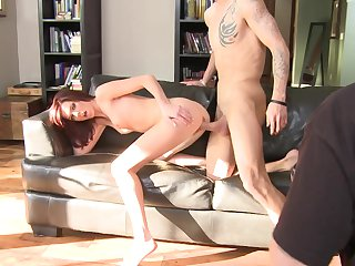 Brunette is in heaven fucking with hot guy in hardcore action