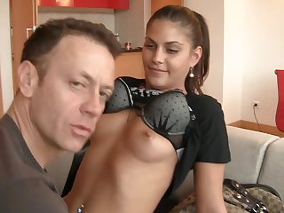 Brunette Defrancesca Gallardo is ready to suck Rocco Siffredi's hard dick day and night
